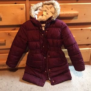 Girls old navy insulated long puffer jacket